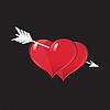 Векторный клипарт: Белая стрела пронизывающая два красных сердца