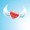 Vector clipart: Red heart with wings