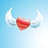 Векторный клипарт: Красное сердце с крыльями