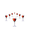 Vector clipart: Eight glasses with red wine.