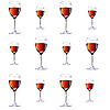 Vector clipart: Twelve glasses with red wine.