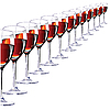 Vector clipart: Thirteen glasses with red wine.