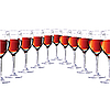 Vector clipart: Eleven glasses with red wine.