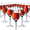 Vector clipart: Sixteen glasses with red wine.