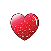 Vector clipart: Water drops on red heart.