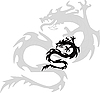 Vector clipart: black silhouette of dragon.
