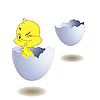 Vector clipart: Yellow chicken in egg.