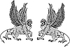 Vector clipart: Two mythological griffins.