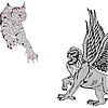 Vector clipart: Jumping tiger and griffin.
