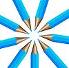 Vector clipart: Circular arrangement of nine dark blue pencils. illustrati