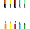 Vector clipart: Five colour pencils.