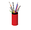 Vector clipart: Pencils and brushes in red glass.