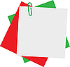 Vector clipart: Sheets of paper with green paper clip