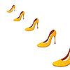 Vector clipart: Five yellow shoes.