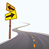 Vector clipart: The asphalted road leaving in distance.