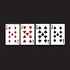 Векторный клипарт: Четыре девять, пестрые карты.