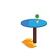 Zwei Kissen und Tisch mit Farben.