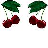 Векторный клипарт: Четыре спелой вишни.
