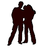 Векторный клипарт: мужчина и женщина с rebenkomn и руки.