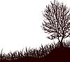 Векторный клипарт: дерево стоит в траве