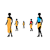 Vector clipart: Five women of models dressed in orange towels