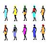 Vector clipart: Ten women of models dressed in towels.