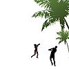 Vector clipart: The man and the woman playing nearby palm.