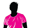 Vector clipart: Black silhouette of the man in pink T-shirt