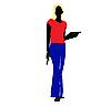 Векторный клипарт: Художник девушка с желтыми волосами.