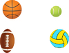 Vektor Cliparts: Tennisball, Fußball, Basketball und Volleyball