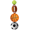 Tennisball, Rugby, Basketball und Volleyball