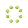 Векторный клипарт: Восемь зеленых теннисных мячей.