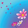 Векторный клипарт: Три цветы и бабочек.