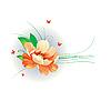 Векторный клипарт: Оранжевые цветы и бабочек.