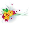 Векторный клипарт: Цветы и бабочки.