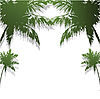 Four green silhouettes of palm trees.