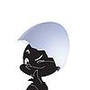 Vector clipart: Black chicken in egg.
