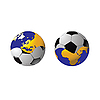 Vector clipart: football connected in single whole and planet