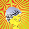 Vector clipart: Bar code on an egg-shell and chicken.