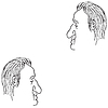 Vector clipart: Man`s face caricature.