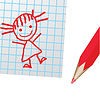 Vector clipart: Drawing on paper and red pencill.