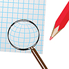 Vector clipart: Magnifier, pencil and sheet of paper.