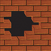Vector clipart: Volume wall of brick.