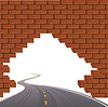 Vector clipart: The asphalted road and brick wall.