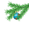 Vector clipart: Blue New Year`s ball and fur-tree branch