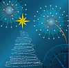 Vector clipart: New Year tree, salute and hours.