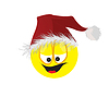 Vector clipart: The cheerful person in cap of Santa Claus.