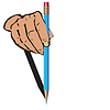 Vector clipart: Man`s hand and dark blue pencil.
