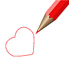 Vector clipart: Red pencil and red heart.