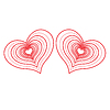 Vector clipart: Two abstract red hearts.
